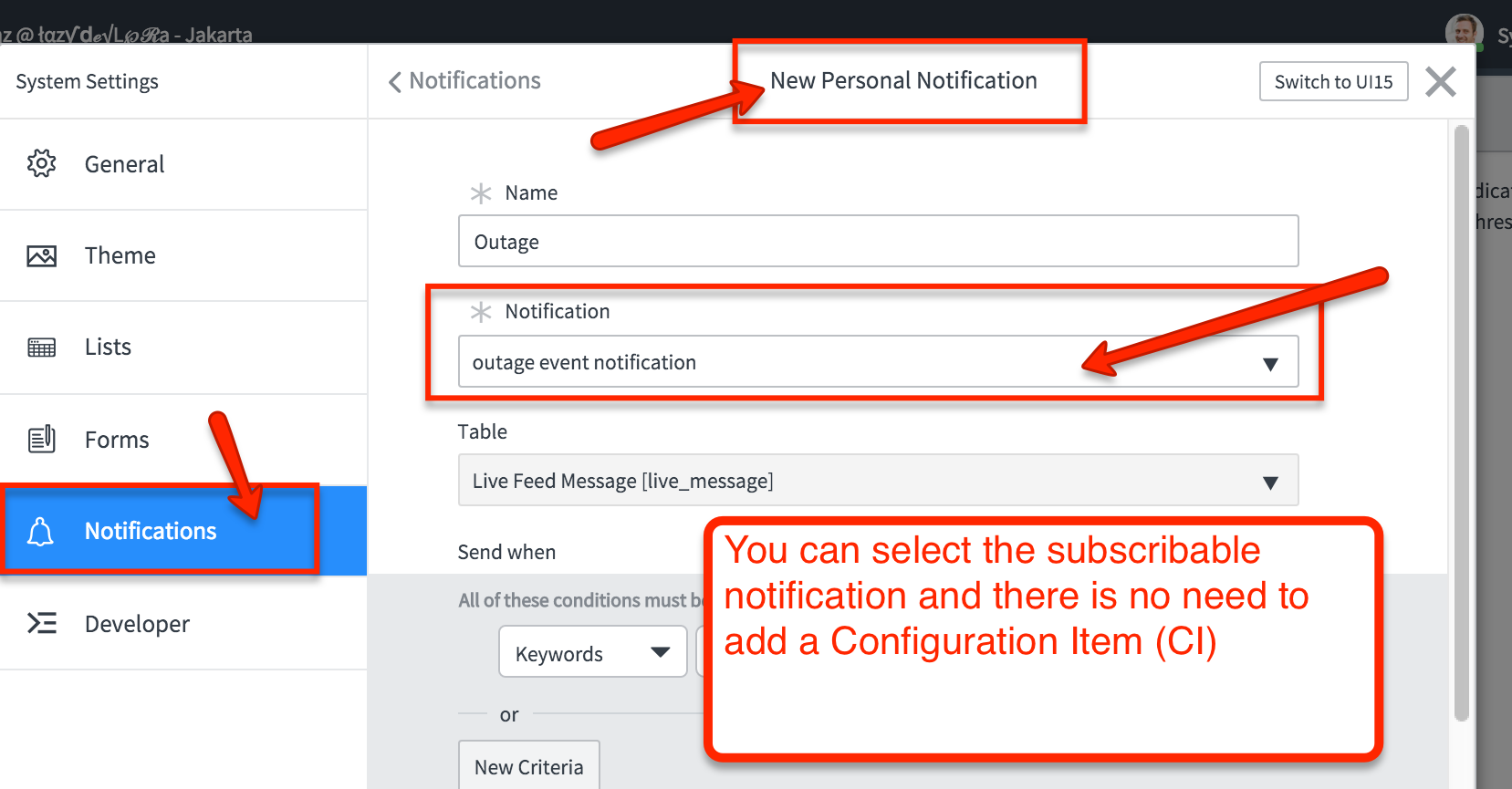 When adding a subscribable notification, it will not ask for a CI